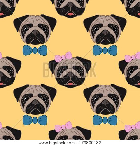 Pugs. Girl and boy. Seamless vector pattern on yellow background