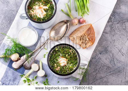 Traditional russian Cold Soup Okroshka with meat, vegetables and kvass serving size in enamel cup and raw ingredients on on grey stone table. Kvass is a traditional Slavic and Baltic fermented beverage commonly made from rye bread