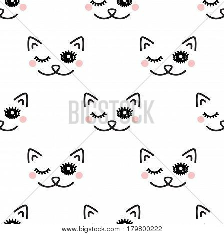 Winking Cat. Seamless vector pattern on white background