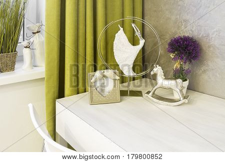 Part of the apartment interior in green and white colors