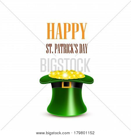 Leprechaun hat filled with gold. Saint Patricks Day Card. Vector illustration.