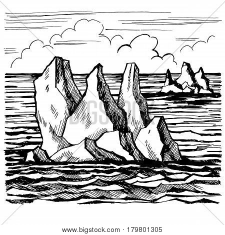 Iceberg sketch hand drawn cartoon landscape. Graphic black white illustration vector.