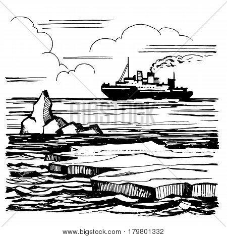 Iceberg sketch hand-drawn cartoon landscape. The icebreaker sails on the horizon. Graphic black and white illustration.
