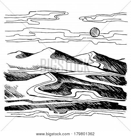 Sand dunes vector sketch. Sahara desert against the sky. Stock Illustration.