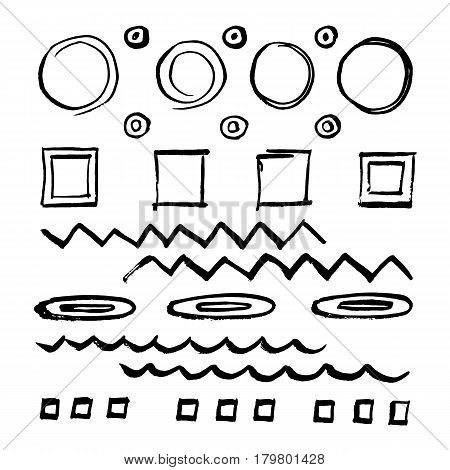 Doodle style sketch frames strokes shaded and hatched badges and bubble shapes. Set of hand drawn scribble symbols isolated on white. Monochrome vector.