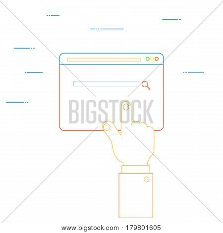The hand clicks on the web page. Vector illustration .