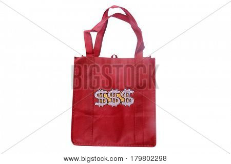 reusable shopping bags with Money Sign Bling attached to the side in Gold and Diamonds. isolated on white with room for your text