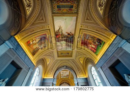 ROME - SEPTEMBER 30, 2012: Ceiling in hall in the Vatican museum, Vatican City.