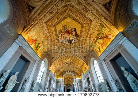 ROME - SEPTEMBER 30, 2012: Ceiling in hall in the Vatican museum in Rome, Italy
