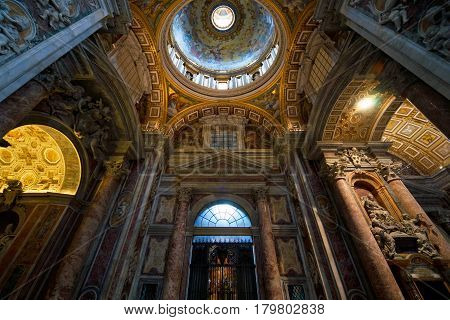 ROME - SEPTEMBER 30, 2012: Interior of St. Peters Basilica in Rome, Italy.