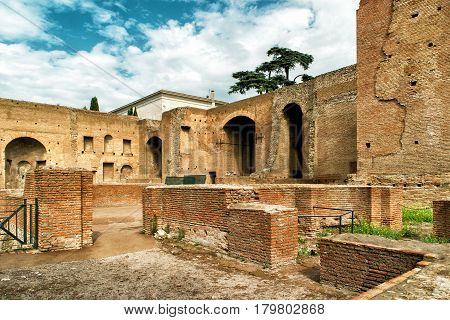 The ruins of the imperial palace on the Palatine Hill in Rome, Italy