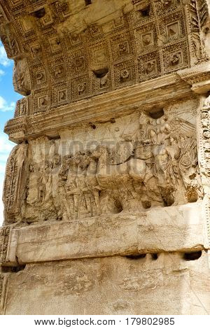 The Arch of Titus, detail, Rome, Italy