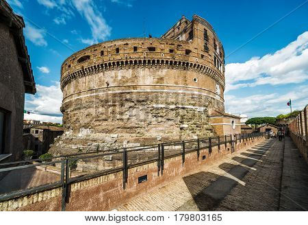 Inside the Castel Sant'Angelo (Castle of Holy Angel), Rome, Italy. Mausoleum of Emperor Hadrian.