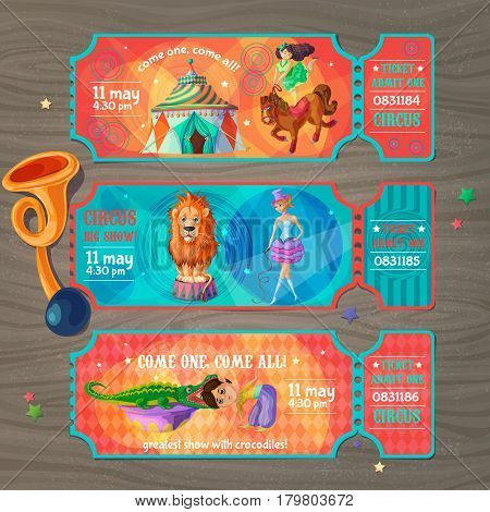 Cartoon circus show invitation tickets set with artists trained animals and trumpet on wooden background vector illustration