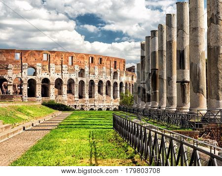 Vew of the Colosseum in Rome, Italy
