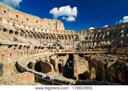 ROME, ITALY - OCTOBER 4, 2012: Inside of Colosseum in Rome.