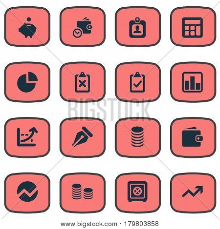 Vector Illustration Set Of Simple Investment Icons. Elements Line Chart, Wallet, Rate And Other Synonyms Progress, Billfold And Separation.