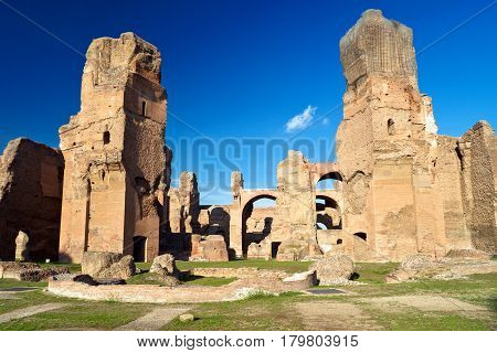 ROME, ITALY - OCTOBER 5, 2012: The ruins of the Baths of Caracalla, ancient roman public baths in Rome.