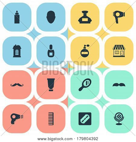 Vector Illustration Set Of Simple Beautician Icons. Elements Shaver, Human, Supermarket And Other Synonyms Razor, Male And Man.