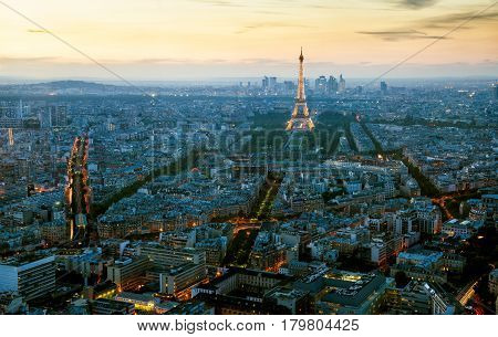 PARIS - SEPTEMBER 24, 2013: Aerial panoramic view of Paris with the Eiffel tower in the evening.