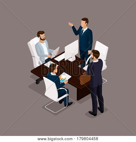 Isometric people businessmen 3D business woman. Office staff to discuss the work plan the head of subordinates on a dark background.