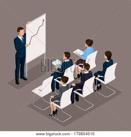 Isometric people businessmen 3D business woman. Education business training. Working in the office office workers on a dark background.