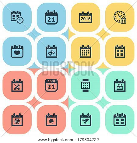 Vector Illustration Set Of Simple Date Icons. Elements Snowflake, Almanac, Leaf And Other Synonyms Almanac, Day And Gear.