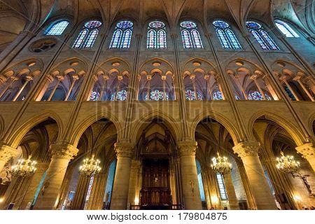 PARIS - SEPTEMBER 25, 2013: Interior of the Notre Dame de Paris, France.