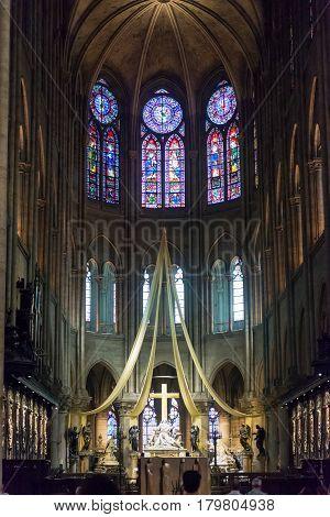 PARIS - SEPTEMBER 25, 2013: High altar of the Notre Dame de Paris, France.