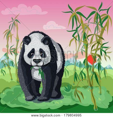 Cartoon asian animal template with cute panda bear eating bamboo on nature landscape vector illustration