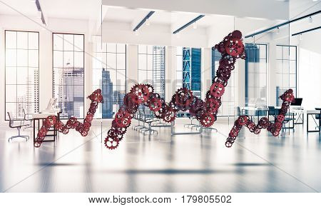 Growing arrow graph made of gears and cogwheels on white office background. 3d rendering
