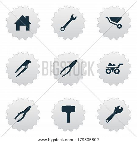 Vector Illustration Set Of Simple Repair Icons. Elements Spanner, Loaded Trolley, Clipping Tool And Other Synonyms Mechanical, Spanner And Wrench.