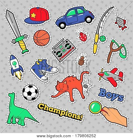 Fashion Badges, Patches, Stickers Boys Theme. Toys, Sports, Car and Music Recorder in Comic Style. Vector illustration
