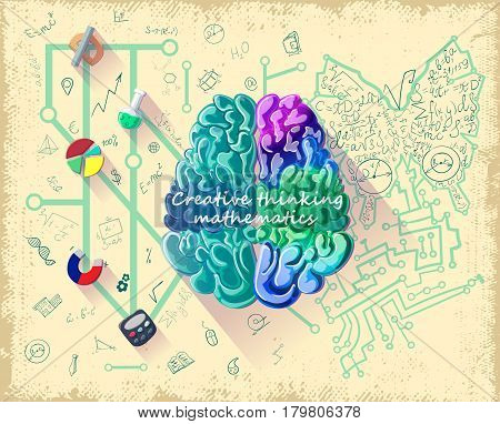 Cartoon human brain intelligence concept with influence of right creative hemisphere on more developed analytical left side vector illustration