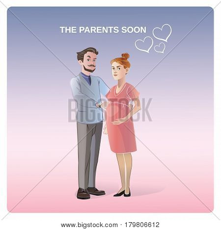 Future parents concept with standing man and pregnant woman in cartoon style isolated vector illustration