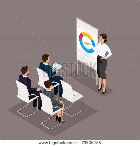 Business people isometric set of women with men training coachers in office isolated on a dark background vector illustration.