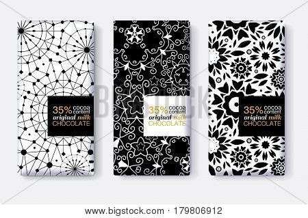 Vector Set Of Chocolate Bar Package Designs With Black and White Geometric Patterns. Editable Packaging Template Collection. Packaging and Surface pattern design.