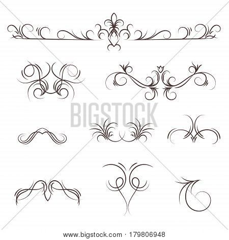 A collection of vector decorative monograms and a calligraphic borders. A set of graphic design elements for wedding and other invitations, greeting cards, visit cards