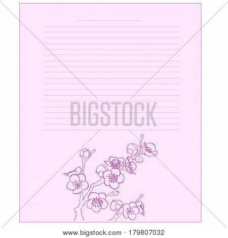 Notepad blooming cherry. Diary page template. Diary page. Flowering sakura on a pink background. Sheet with space for text.