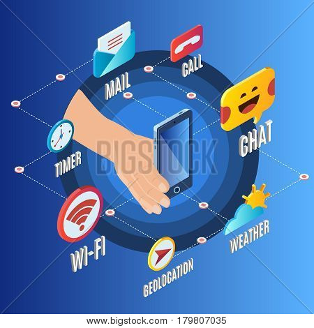 Isometric electronic gadget concept with smartphone and colorful icons of mobile applications on blue background isolated vector illustration