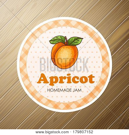 Vector round label, apricot jam on a wooden background