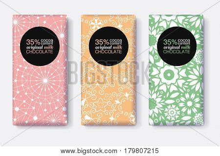 Vector Set Of Chocolate Bar Package Designs With Pastel Geometric Patterns. Editable Packaging Template Collection. Packaging and Surface pattern design.