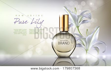 Vector illustration of a realistic style perfume in a glass bottle on a background with luxurious white lily. Great advertising poster for promoting a new fragrance