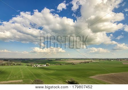 Vaterloo. View of the Waterloo plains - Napoleon battle ground. Belgium