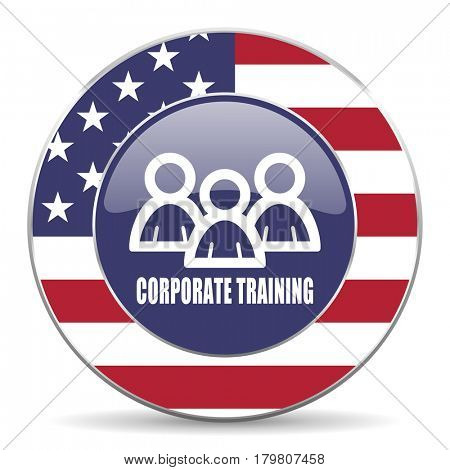 Corporate training usa design web american round internet icon with shadow on white background.