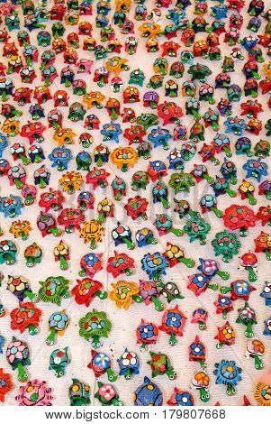 Saint Paul (La Reunion), France - 19 May 2007: Multitude of toy turtles at the market on La reunion island France