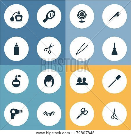 Vector Illustration Set Of Simple Cosmetics Icons. Elements Blow Dryer, Reflection, Manicure And Other Synonyms Polish, Nail And Beauty.