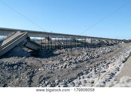 Destroyed Highway Of La Reunion Island