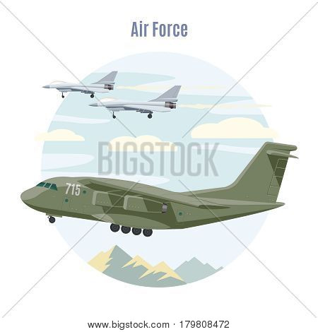 Military aviation concept with jet planes and cargo airplane on sky and mountain landscape vector illustration
