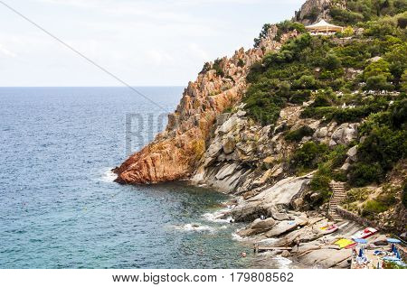 Scenery view on Italian island Sardinia sea shore rock beach near Arbatax